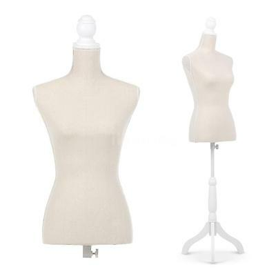Female Mannequin Dress Body Form+ Simple Cover Tripod Wooden Base beige E4O8