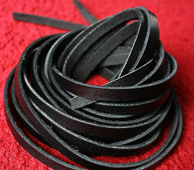 "98"" long REAL BLACK LEATHER STRIPS FLAT CORD LACE STRAPS width 4,5,6,7,8,8,10 mm"
