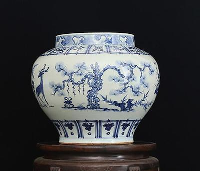 chinese ancient Blue and white porcelain sculpture Trees and deer big pots