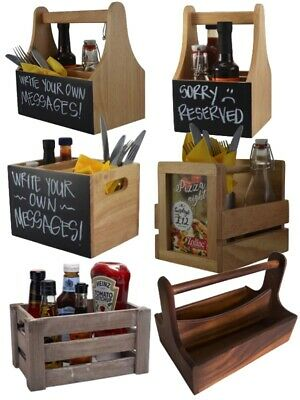 Wooden Table Caddy Condiment Cutlery Napkin Sauce Bottle Caddy Holder
