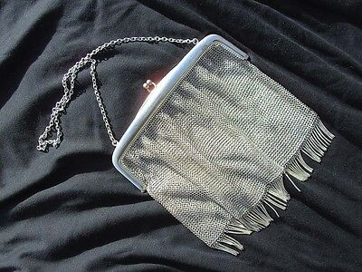 Vintage Evening Clutch Bag , Silver Mesh, With Strap- From France