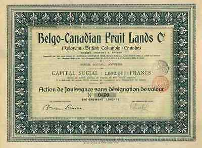 Belgo Canadian Fruit Lands 1908 British Columbia Antwerpen 500 fr Titres Anciens