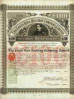 Costa Rica Railway 1889 Alajuela San José nach Puerto Limon Cartago Second Bond