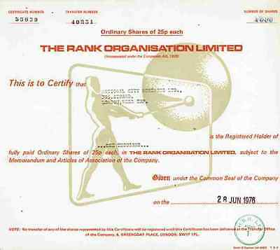 Rank Organisation 1976 Odeon EMI BBC Pinewood Film Xerox Hard Rock Cafe 1000 Sh