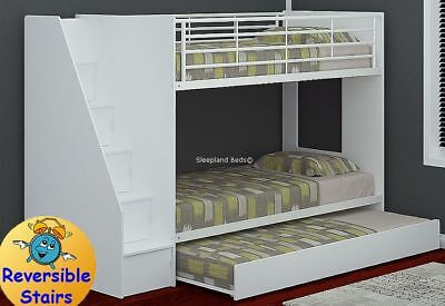 White Storage Staircase Bunk Bed With Trundle Guest Bed Cameo Dynamo Bunks 449 00 Picclick Uk