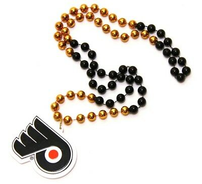 Philadelphia Flyers Pearl Necklace with Crest, NHL Ice Hockey, Beads Medallion,