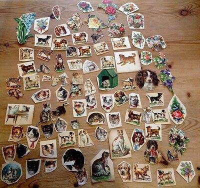Genuine Victorian Scraps - Cats/Dogs/Flowers - Used Die Cuts - Obalaten