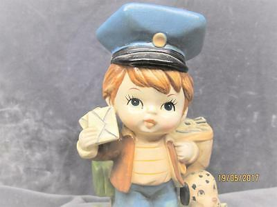 Vintage A Price Import From Taiwan Boy Mailman With Dog Ceramic Figure