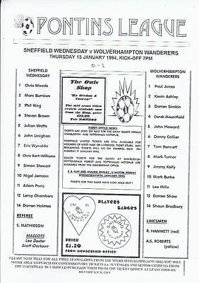 Sheffield Wednesday Home Reserves v Wolves Reserves Football Programme 1993/94