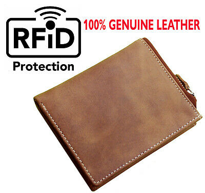 Primehide Mens Luxury Real Leather Compact Wallet Credit Card Holder Brown-5001