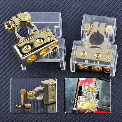 2x AWG Positive & Negative 12V Car Battery Terminal Clamp Connector with Cover