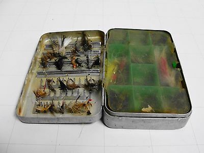 Perrine No.91 Fly Box Full With Flies Knots Vintage 2-sided divider