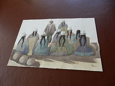 1984 contemporary Peruvian painter DAE large artwork 55 x 38 cm WATERCOLOUR