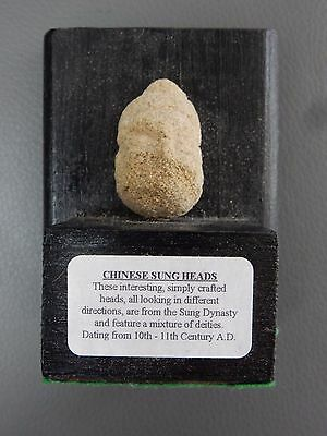 antiquities  small Chinese carved stone head, Sung Dynasty, circa 10th-11th cent