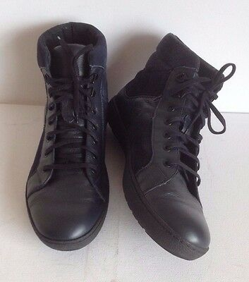 Navy Blue UK 9 Leather Mens Ankle Lace Boots Trainers Shoes Work Casual GC EU 42