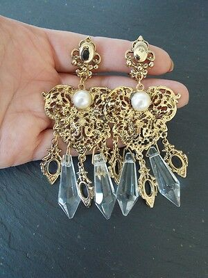 Vintage 80's Gold and Crystal Baroque Clip-On Statement Earrings -UK SELLER