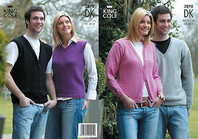 King Cole DK Knitting Pattern 2870: Mens & Womens Sweaters & Cardigans