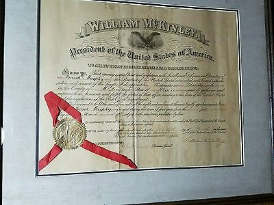 WILLIAM McKINLEY APPOINTMENT SIGNED 1901 months before assassination original