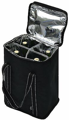 Vina 4 Bottle Wine Carrier - Travel Insulated Wine Carrying Cooler Tote Bag with