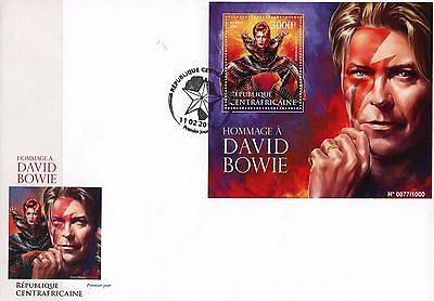 Central Africa 2016 David Bowie Music Legend S/S FDC 16015 Official Issue