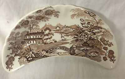 CROWN DEVON FIELDINGS CRESENT BONE DISH BROWN COUNTRYSIDE SCENE SHIP LAKE HOUSeE