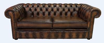 Chesterfield New 3 Seater Antique Tan Real Leather Sofa Settee 2 Cushion Style
