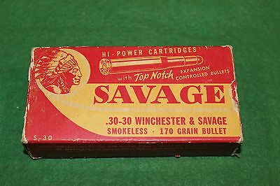 Savage Arms Corp .30-30 Winchester & Savage Red/White 170 grain Empty Box Scarce