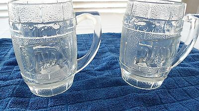 2 Vintage Heavy Duty Glass Dad's Root Beer Mugs, 12 Ounces, Excellent Condition