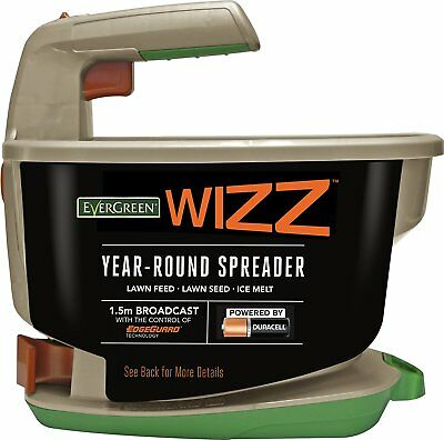 EverGreen Wizz Year Round Battery Spreader for Lawn Feed Seed and Salt