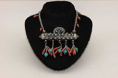 Antique Original Silver Coral Decorated Amazing Anatolian Necklase