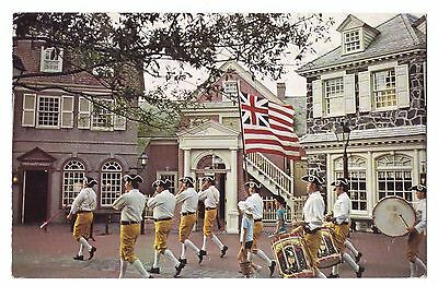 Disney World postcard Fife and Drum Corps march through Liberty Square