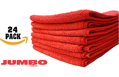 24 red microfiber cleaning cloth towels rag car polishing detailing large 16x16