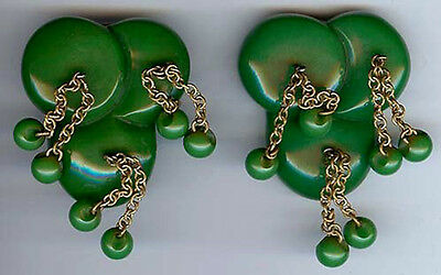 Pair Of Vintage Carved Green Bakelite Dangly Brass & Beads Dress Clips