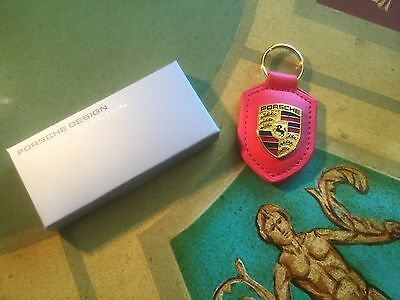 Porsche Leather Keyring Fob Red