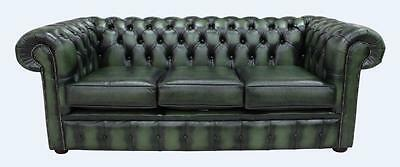 Chesterfield 3 Seater Sofa Settee Antique Green Real Leather