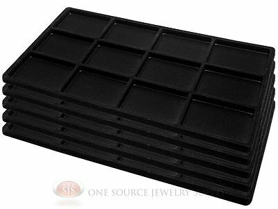 5 Black Insert Tray Liners W/ 12 Compartments Drawer Organizer Jewelry Displays