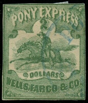 #143L4 $2 Green Pony Express Used W/ Pf Cert (Only 7-8 Known) Cv $4,500 Wlm3503