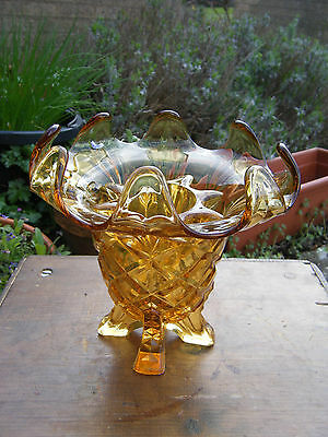 Pretty Vintage Sowerby Amber Pressed Glass Footed Posy Vase with Frog