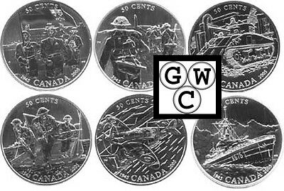 2005 50-Cent Sterling Silver Six-Coin Set - 60th Anniversary End of WWII (11566)