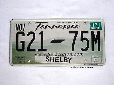 2013 TENNESSEE SHELBY County Vintage License Plate # G21-75M