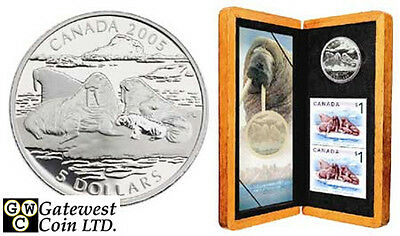 2005 Atlantic Walrus Proof $5 Pure Silver Coin & Stamp Set (11753)