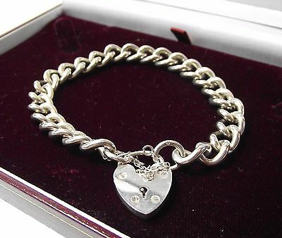 CHUNKY CHAIN LINK BRACELET HEART CLASP JEWELLERY STERLING SILVER 925 32g