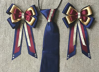 childs equestrian showing set - show tie &bows NAVY BURGUNDY GOLD + Crystals