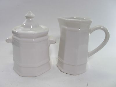 Pfaltzgraff HERITAGE WHITE Cream Pitcher and Sugar Dish (with lid) Vintage