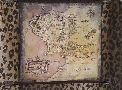 """Middle Earth """"War In The North"""" Tolkien Hanging Fabric Map w/Elvin Arrows, EUC"""