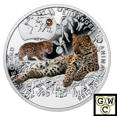 2015 $1 Niue Island Endangered Animal Species : Amur Leopard  .999 Silver Coin