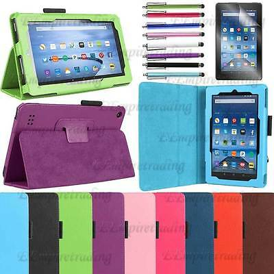 Amazon Fire 7 Leather case For 2017 7th Generation with stand + Screen Protector