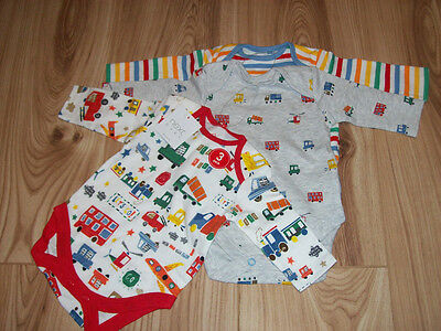 NEW BABY BOYS NEXT 3 pack vests bodysuits up to 1 months 10 lbs, transport cars