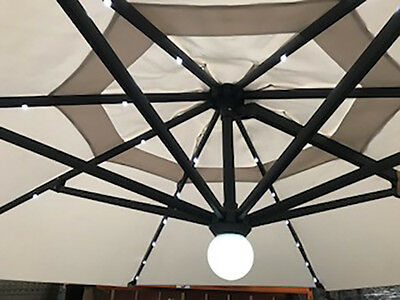 Cream 3.5m Aluminium Hanging Solar Parasol with LED Lights and base included