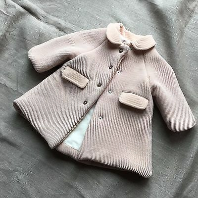 La Stupenderia Italy Baby Girl Coat 3 Months Wool Vintage Pink